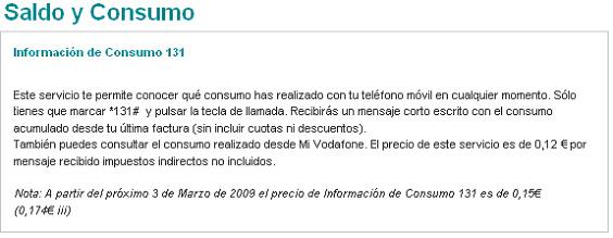 Vodafone sube el precio sobre consulta de saldo