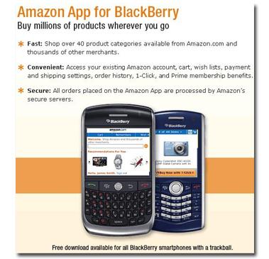 La tienda Amazon en tu Blackberry