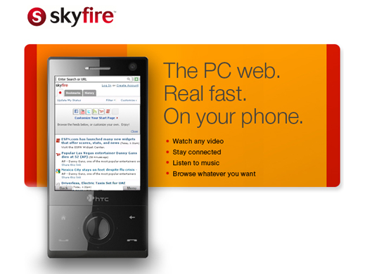 Skyfire 1.0. Navegador móvil rápido y completo