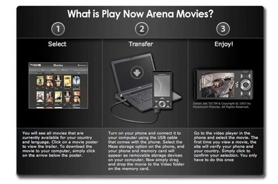 Play-Now Arena, películas en tu Sony Ericsson