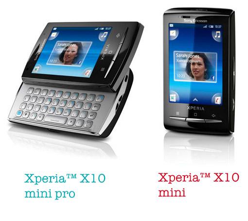 Sony Ericsson Xperia X10 mini y X10 mini pro