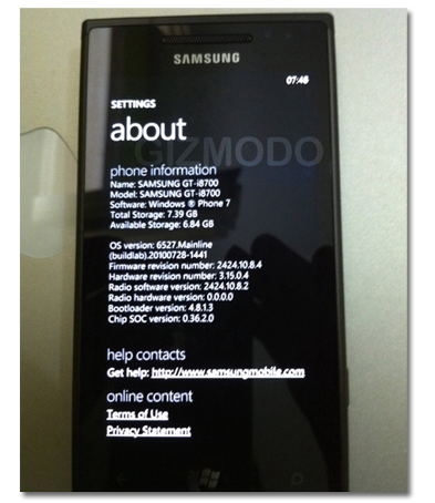 Samsung i8700 con Windows Phone 7