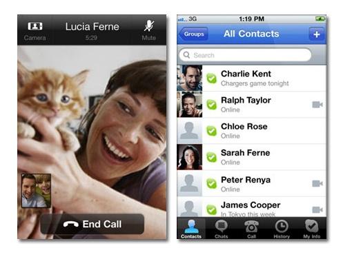 Skype con video llamada para el iPhone