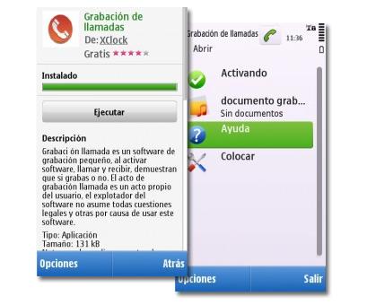 Grabación de llamadas para Symbian