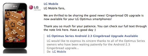 Los LG Optimus se actualizarán a Gingerbread en Noviembre