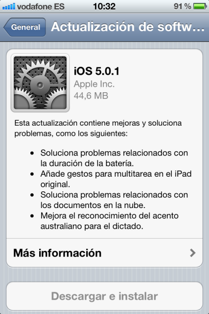 iOS 5.0.1 ya disponible. La batería rinde mucho mejor
