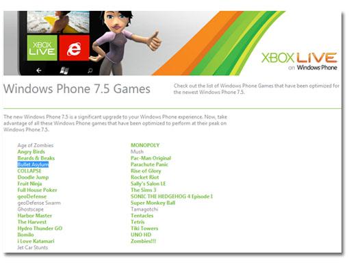 Nuevos juegos optimizados para Windows Phone 7.5 y soporte Xbox Live