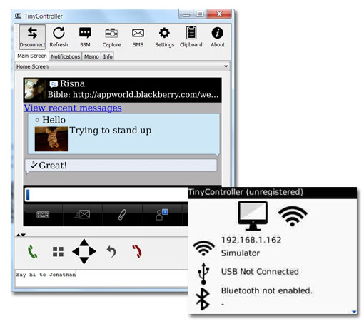 Controla la Blackberry desde tu ordenador con TinyController