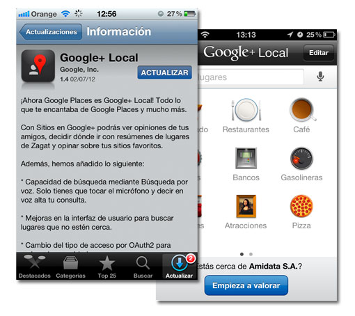 iOS. Ahora Google Place se llama Google+ Local