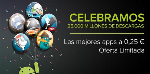 Google Play celebra 25.000 millones de descargas con rebajas