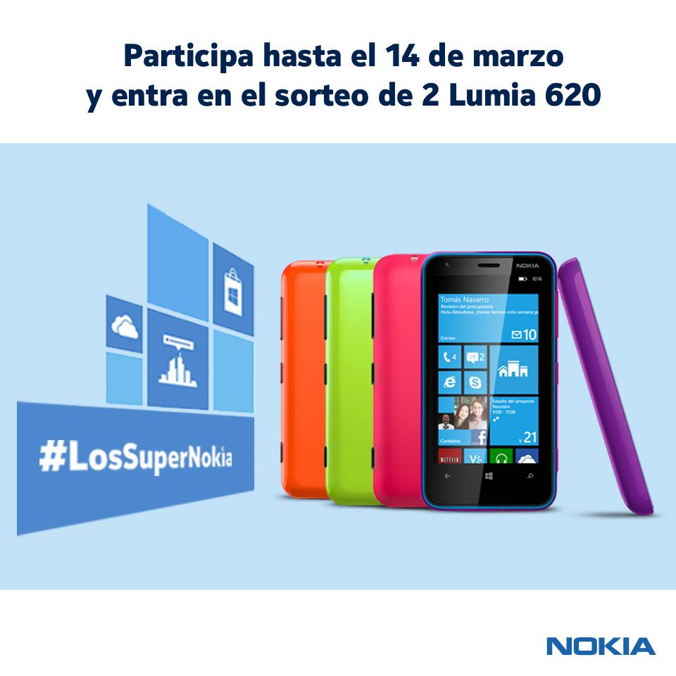 Gana uno de los 2 Lumia 620 de #LosSuperNokia. Mecánica del sorteo