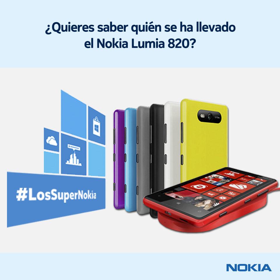 Ya sabemos quién se ha llevado el Lumia 820 de #LosSuperNokia