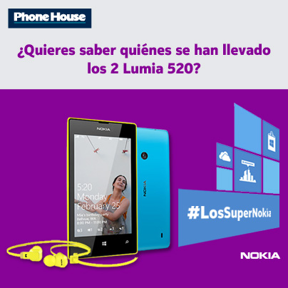Ganadores de los 2 Lumia 520 de #LosSuperNokia de Facebook