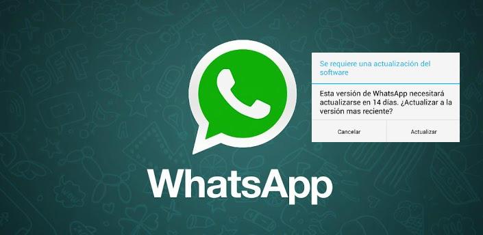 Whatsapp se actualizará en 14 días, popup extraño en la aplicación