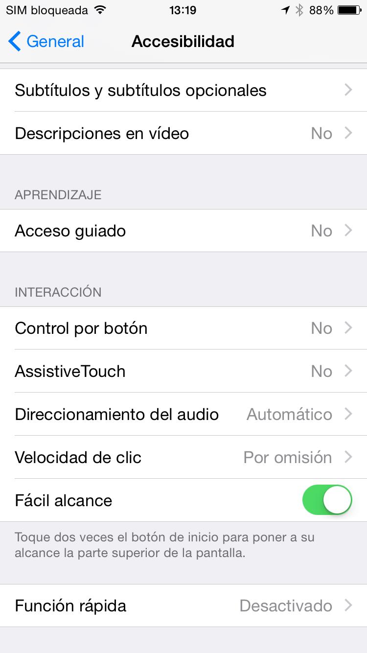 Cómo Activar/Desactivar la opción 'Fácil alcance' de iPhone 6
