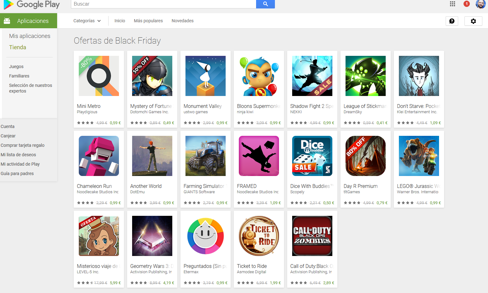 black friday google play juegos android