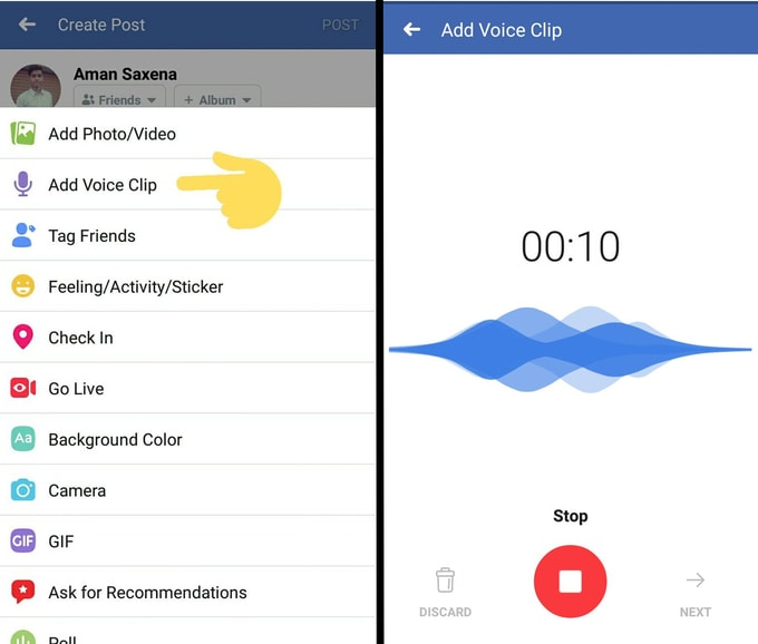 Voice Clips Facebook