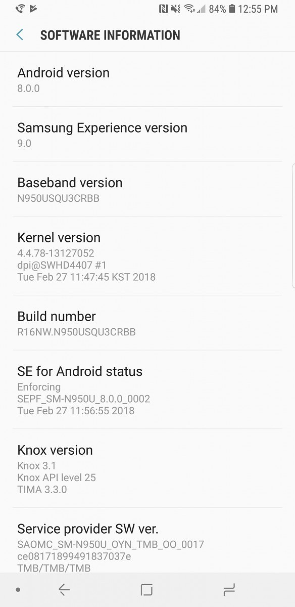 note 8 android oreo