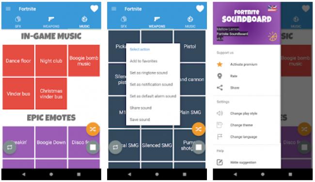 fornite app sonidos