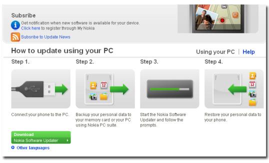 Actualización de Firmware para  Nokia 5800 Xpress Music