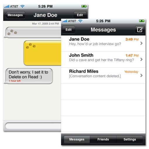 Mensajes auto-destructibles para iPhone / iPod Touch