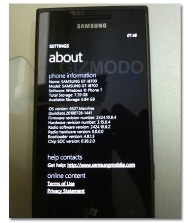 Samsung i8700 con Windows Phone 7