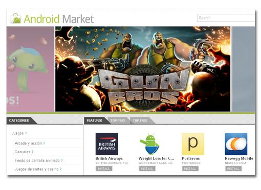 Google lanza su nueva Web del Android Market