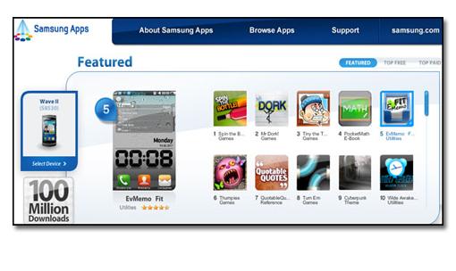 Samsung Appstore sobrepasa la descarga 100.000.000