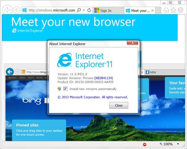 Disponible Internet Explorer 11 para Windows 7
