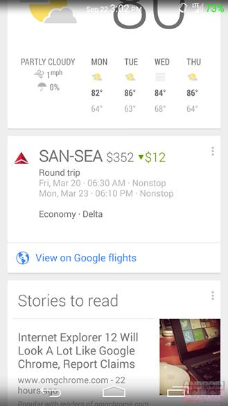 Google Now empieza a notificar precios de vuelos