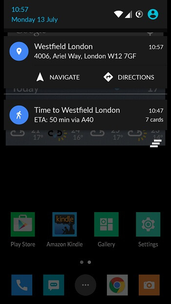 Google Maps send to device notification