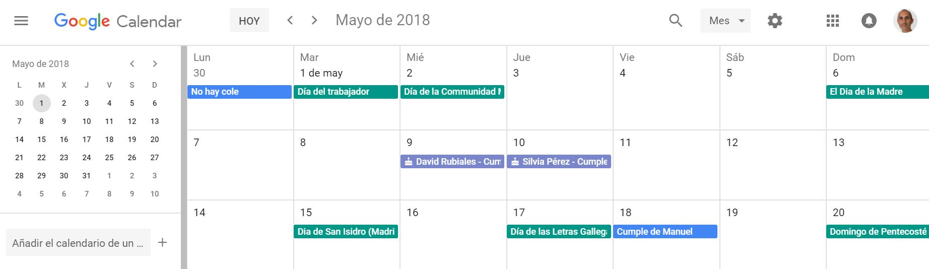 Google Calendar nuevo diseño