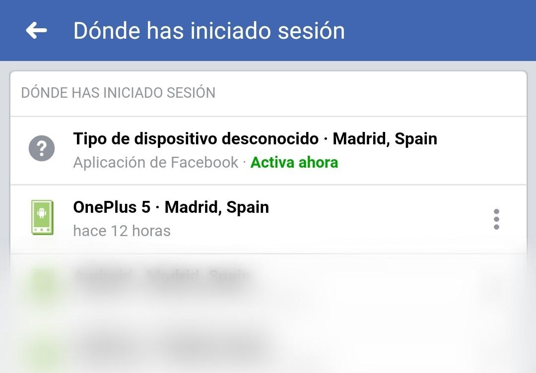 Inicio Sesión Facebook