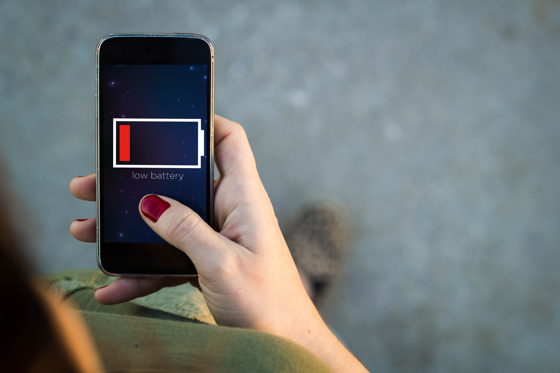 Woman Walking Smartphone Low Battery