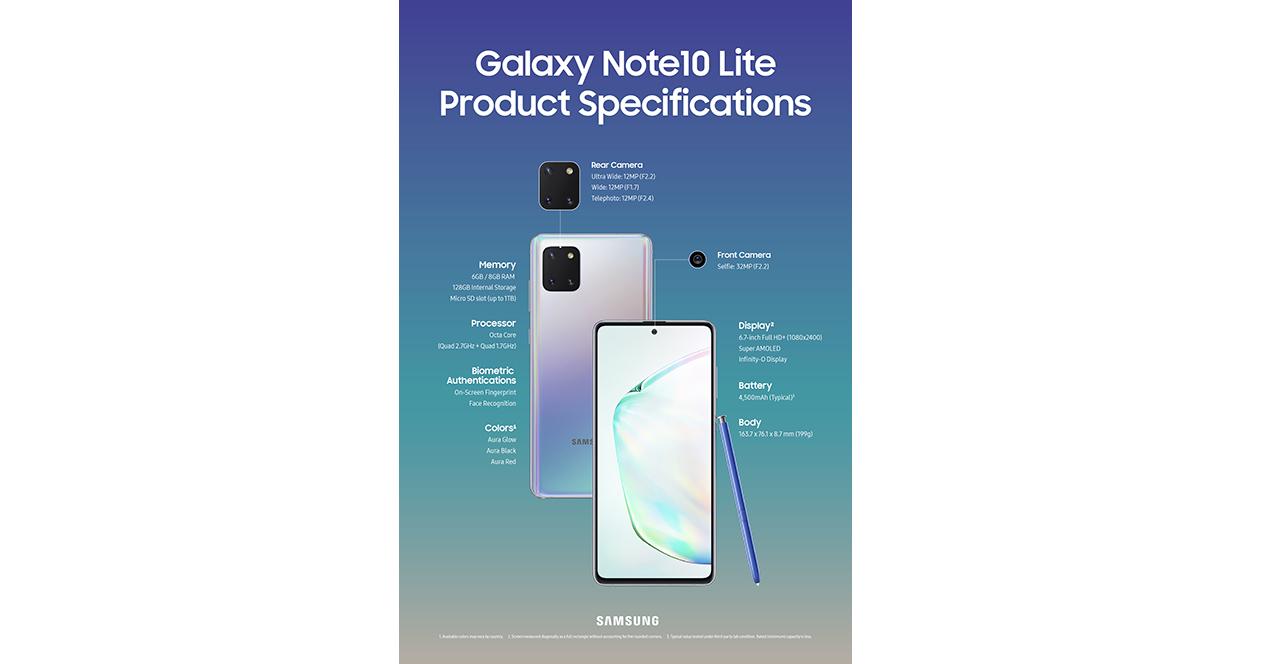 Note 10 Lite Especificaciones