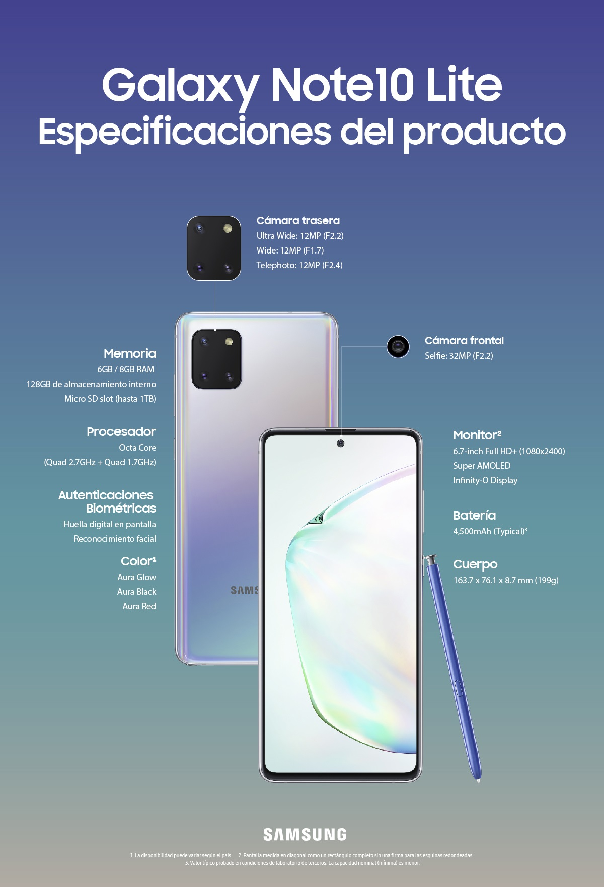 Galaxy Note10lite Product Specifications
