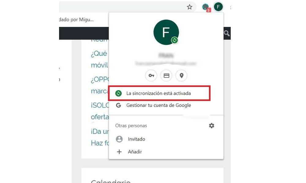 Chrome Sincronizacion Activada