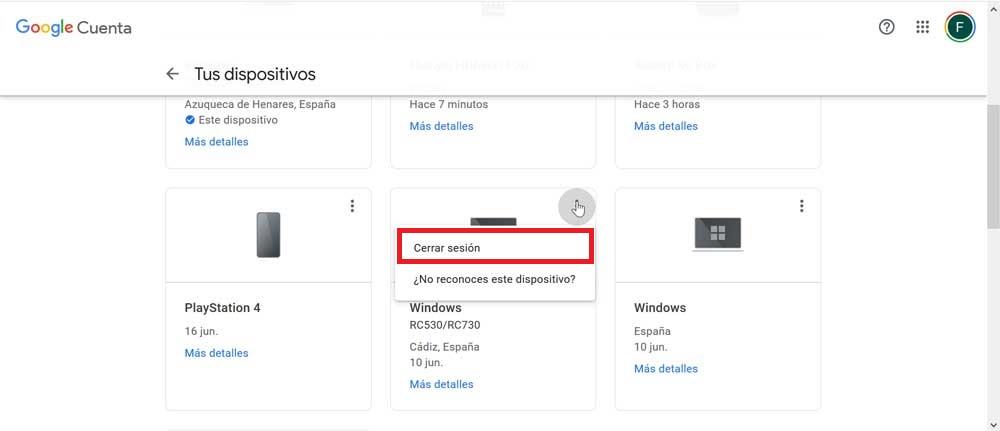 Cerrar Sesión Cuenta Google