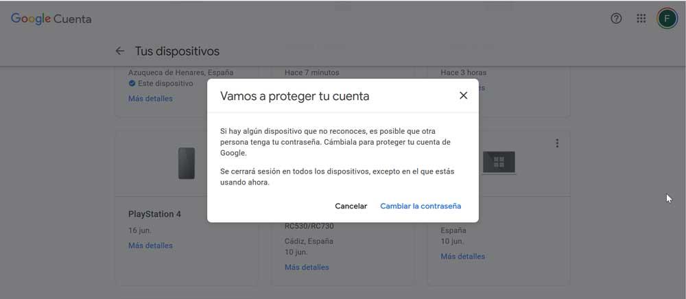 Google Cambiar Contraseña