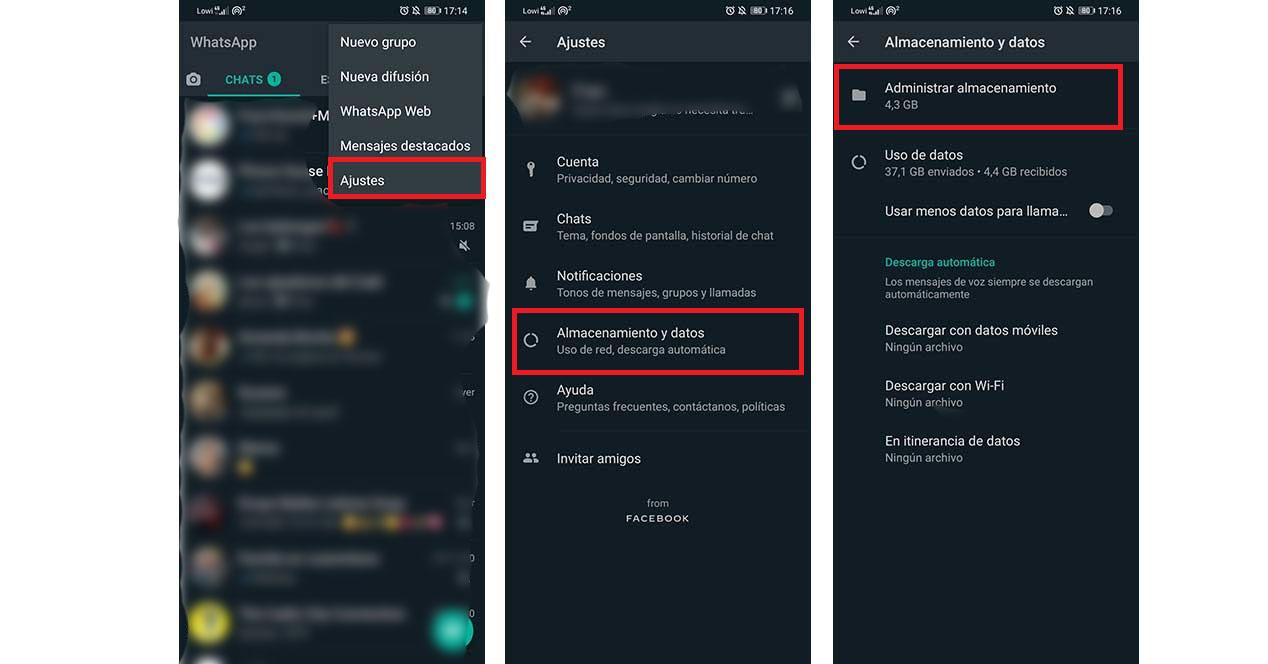 Whatsapp Administrar Almacenamiento