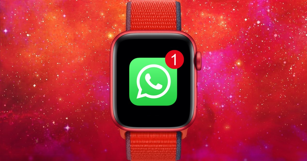 Apple Watch 6 Rojo Y Simbolo De Whatsapp