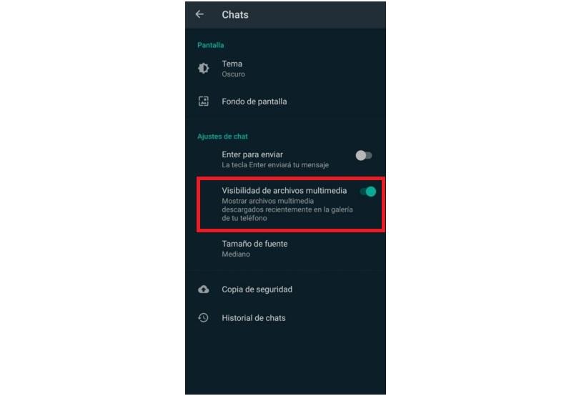 Whatsapp Opcion Archivos Multimedia