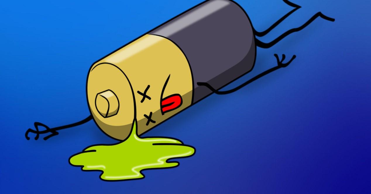 Bateria Muerta Y Fondo Azul