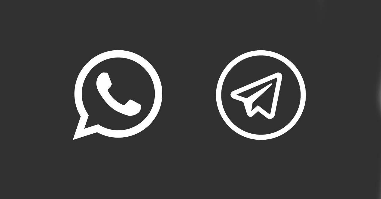 Logo de WhatsApp y Telegram con fondo Negro