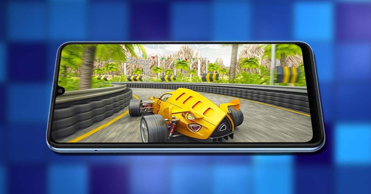 Samsung Galaxy M32 con fondo