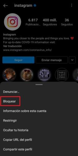 Instagram Bloquear Contacto