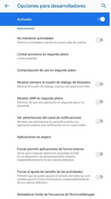 Opciones Desarrolladores Android